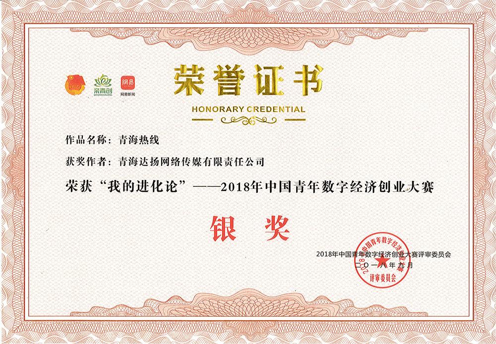 """我公司项目""""青海热线""""荣获2018年中国青年数字经济创业大赛银奖"""